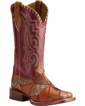 Ariat Women's Reese Exotic Print Patchwork Western Boots - Square Toe, Multi, hi-res
