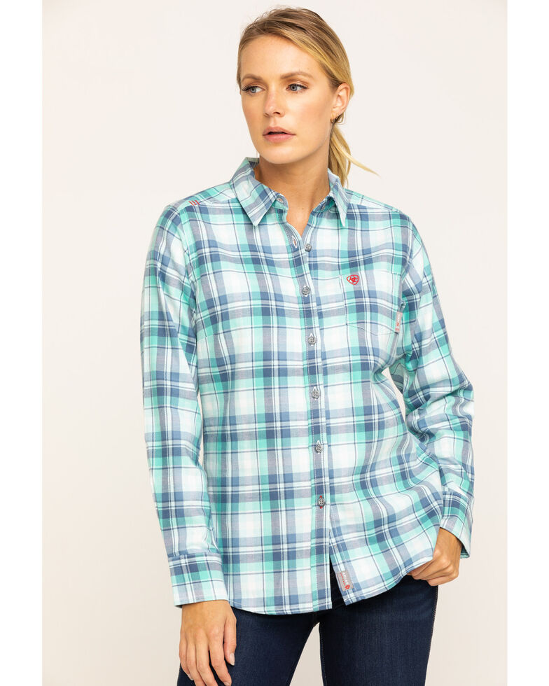 Ariat Women's FR Blue Gisela Plaid Long Sleeve Work Shirt , Blue, hi-res