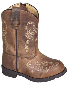 Smoky Mountain Toddler Girls' Hopalong Western Boots - Round Toe, Distressed Brown, hi-res