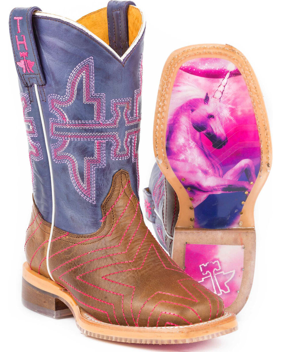 Tin Haul Girls' Brown Starlight Western Boots - Square Toe , Brown, hi-res