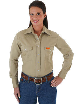 Wrangler Women's Lightweight Flame Resistant Long Sleeve Shirt, Khaki, hi-res