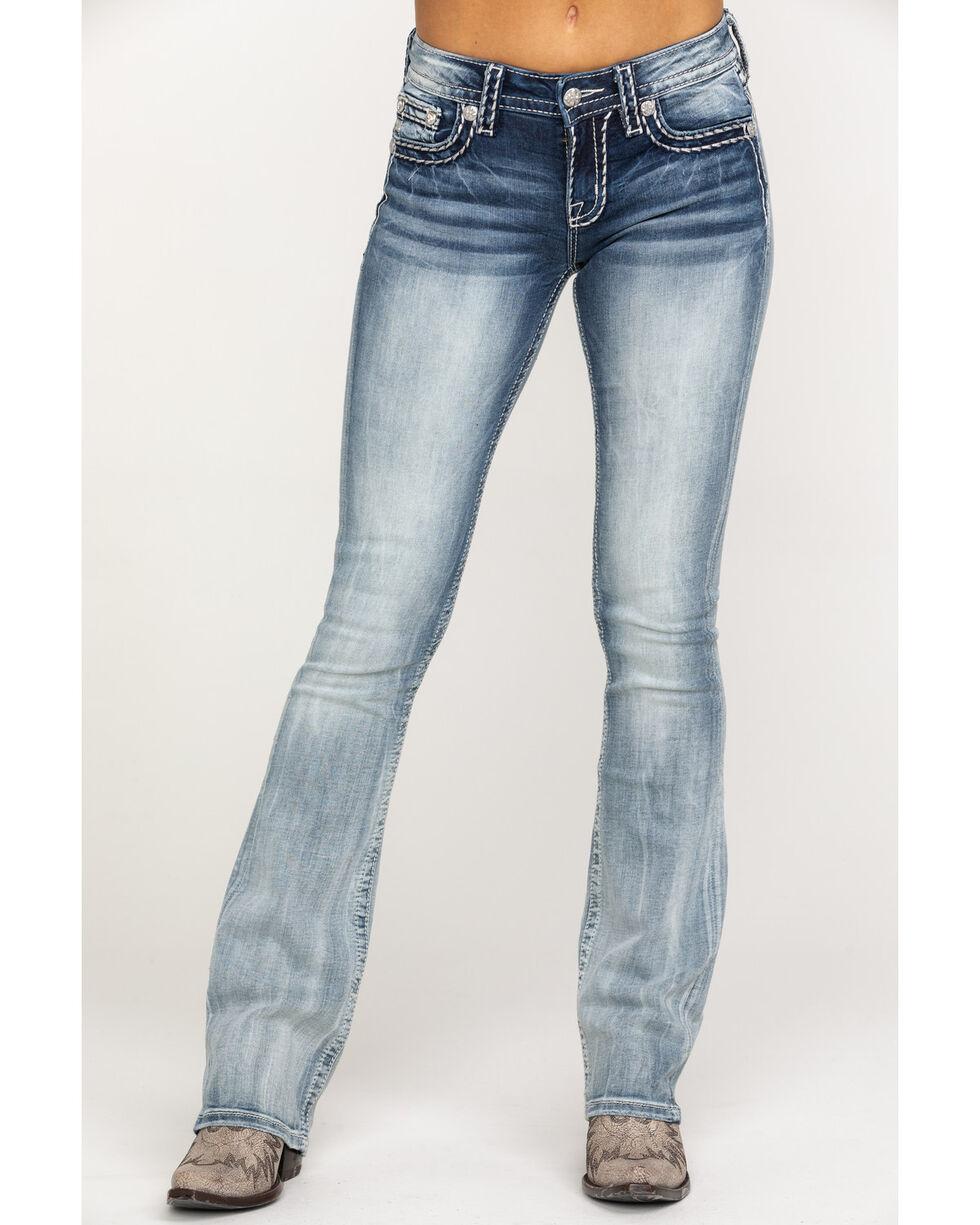 Miss Me Women's Signature Light 34 Inseam Boot Jeans , Blue, hi-res
