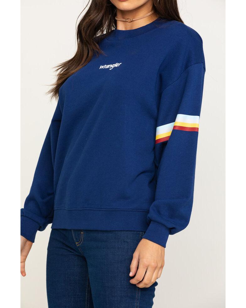 Wrangler Modern Women's Logo Rainbow Stripe Sweatshirt, Navy, hi-res