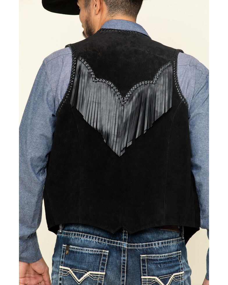 Scully Men's Leather Fringe Vest, Black, hi-res