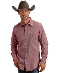 Stetson Men's Red Oval Print Long Sleeve Western Shirt , Red, hi-res