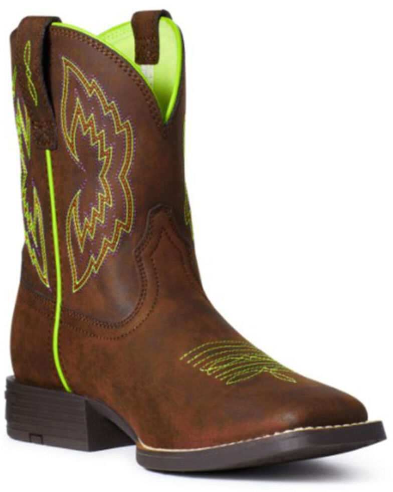 Ariat Youth Boys' Brown Dash Western Boots - Square Toe, Dark Brown, hi-res