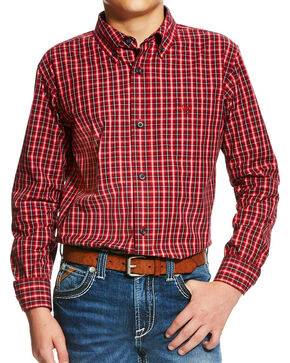 Ariat Boys' Orange Benton Plaid Western Shirt , Orange, hi-res