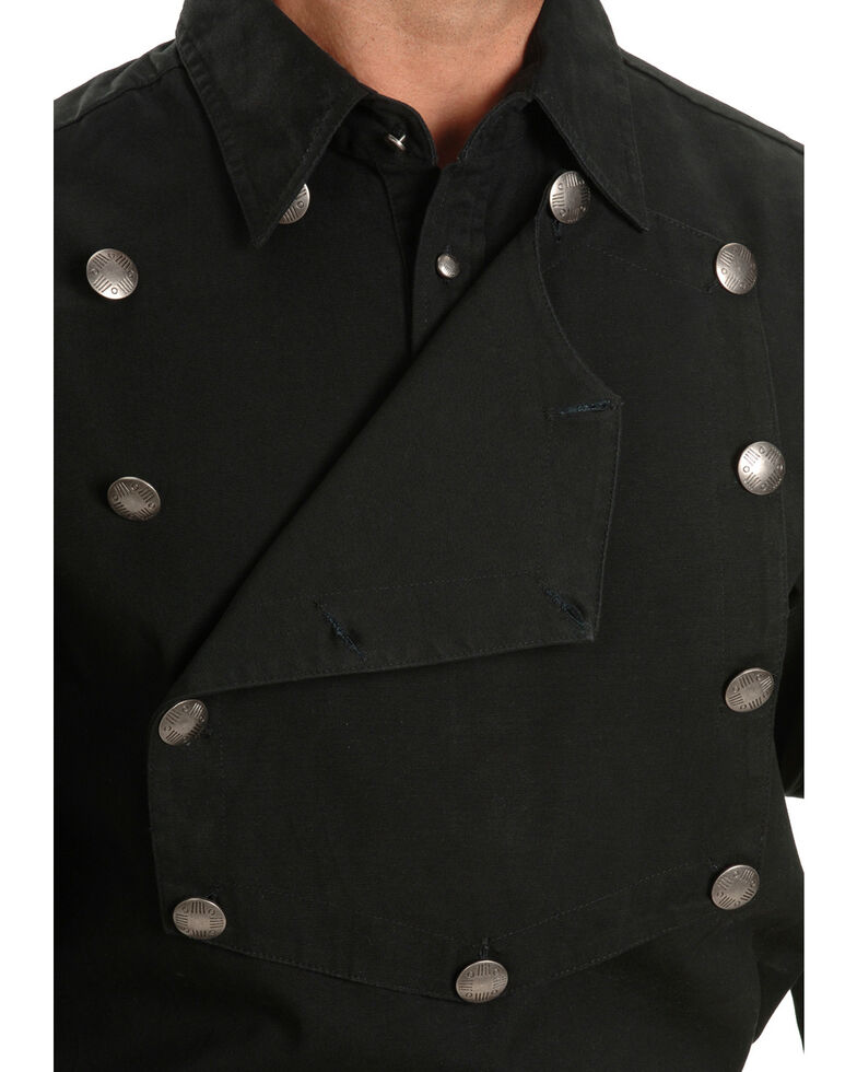 Rangewear by Scully Men's Solid Frontier Engineer Long Sleeve Western Bib Shirt, Black, hi-res