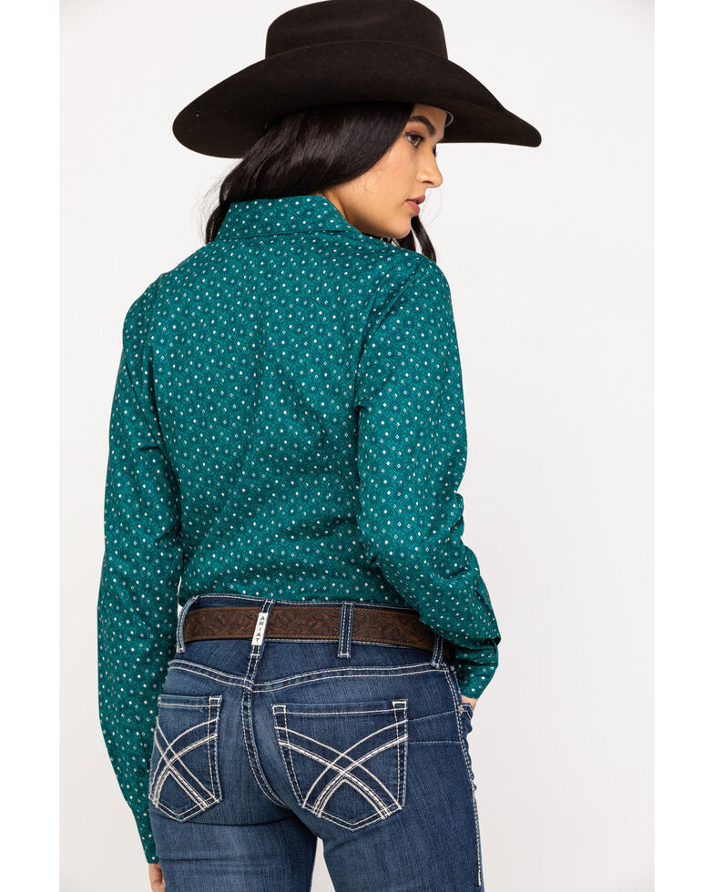 Cinch Women's Teal Geo Print Button Front Long Sleeve Western Shirt, Teal, hi-res