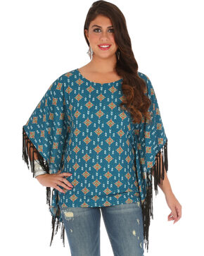Wrangler Women's Teal Aztec Fringe Poncho Top , Teal, hi-res