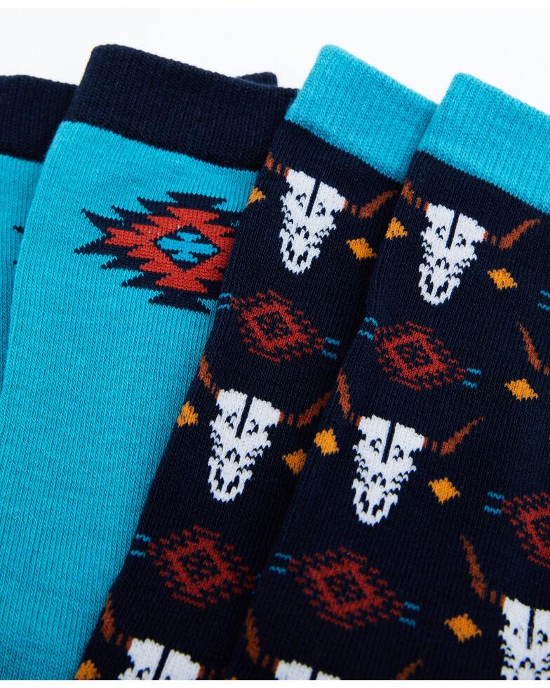 Shyanne Women's Teal Navajo Bull Crew Socks - 2 Pack, Teal, hi-res