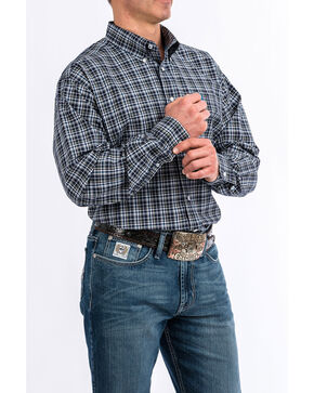 Cinch Men's 4X Check Plaid Long Sleeve Western Shirt , Navy, hi-res
