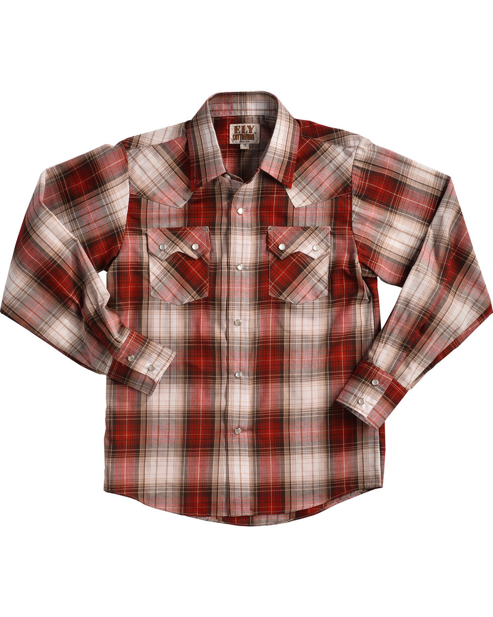 Eli Cattleman Boys' Red Textured Plaid Sawtooth Pockets Snap Shirt, Red, hi-res