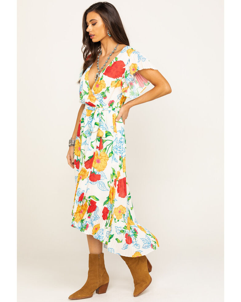 Flying Tomato Women's Floral Pleated Surplice Hi-Low Chiffon Dress, Ivory, hi-res