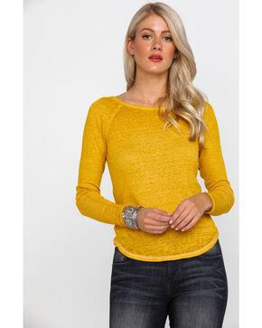 Derek Heart Women's Burnout Rib Caged Long Sleeve Top , Dark Yellow, hi-res