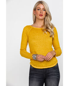 Derek Heart Women's Burnout Rib Caged Long Sleeve Top , Dark Yellow, hi-res