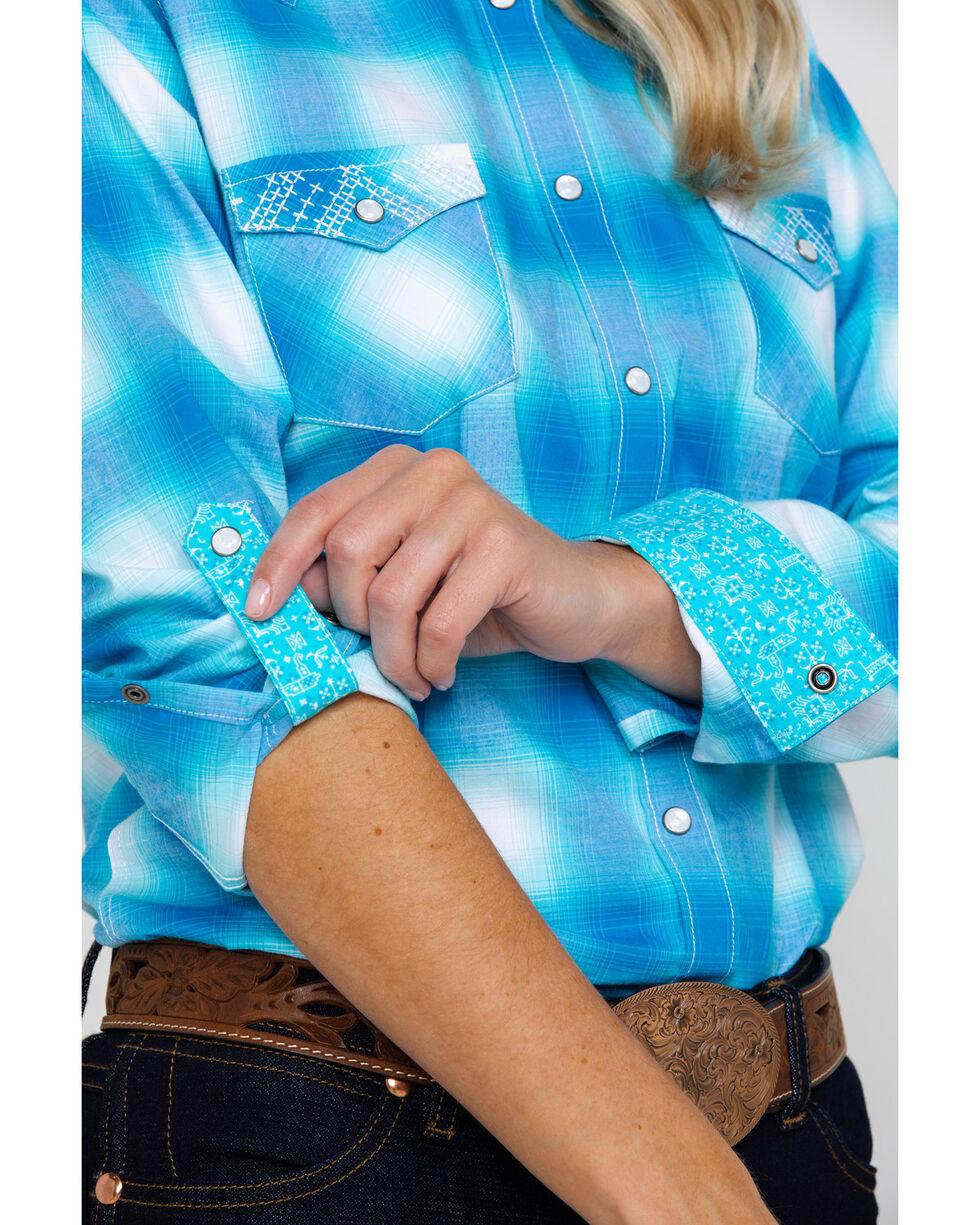Panhandle Women's Rough Stock Crestone Vintage Plaid Long Sleeve Western Shirt , Turquoise, hi-res