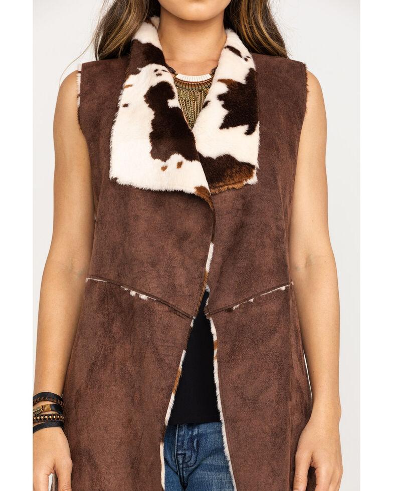 Powder River Outfitters Women's Faux Fur Suede Vest, Brown, hi-res