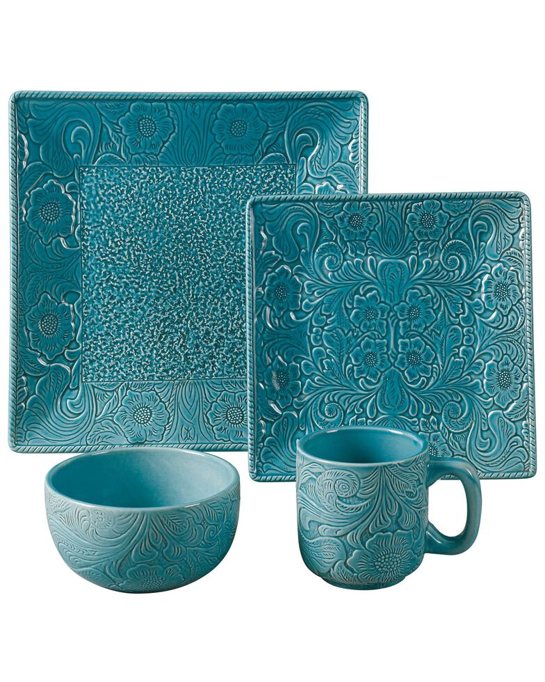 HiEnd Accents 16-Piece Savannah Dinnerware Set, Turquoise, hi-res