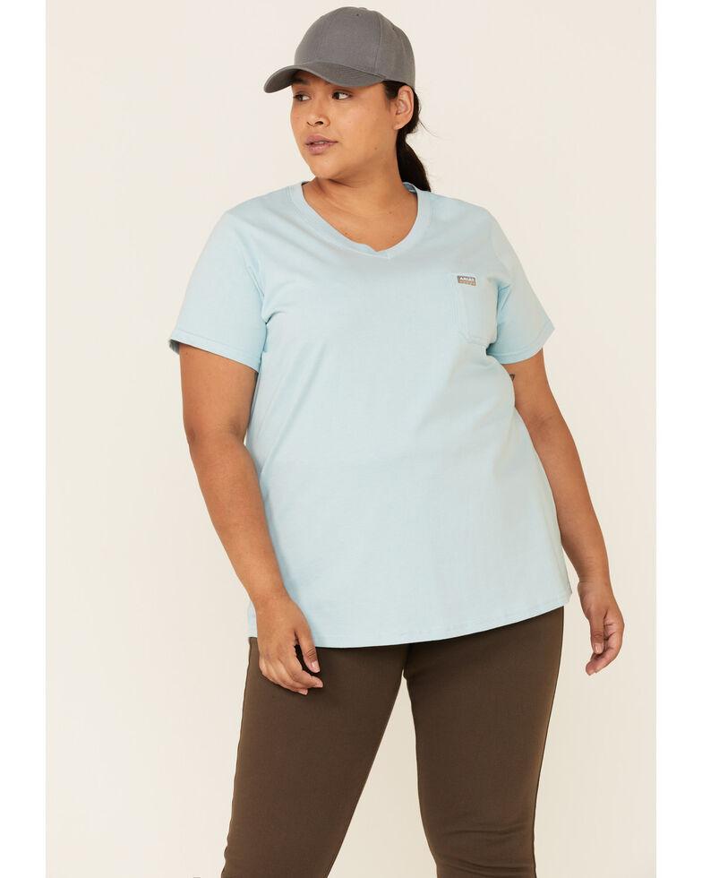 Ariat Women's Light Blue Rebar Back Graphic Short Sleeve Work T-Shirt - Plus, Light Blue, hi-res
