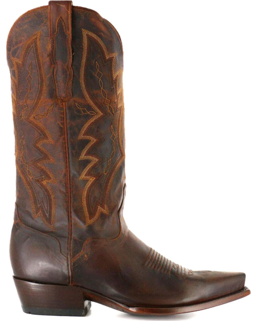 El Dorado Men's Snip Toe Distressed Goat Western Boots, Brown, hi-res