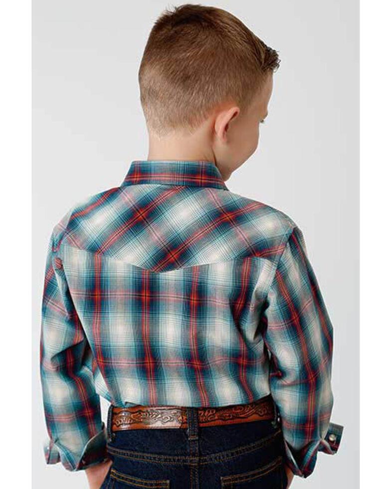 Roper Boys' Amarillo Denim Ombre Plaid Long Sleeve Western Shirt , Blue, hi-res