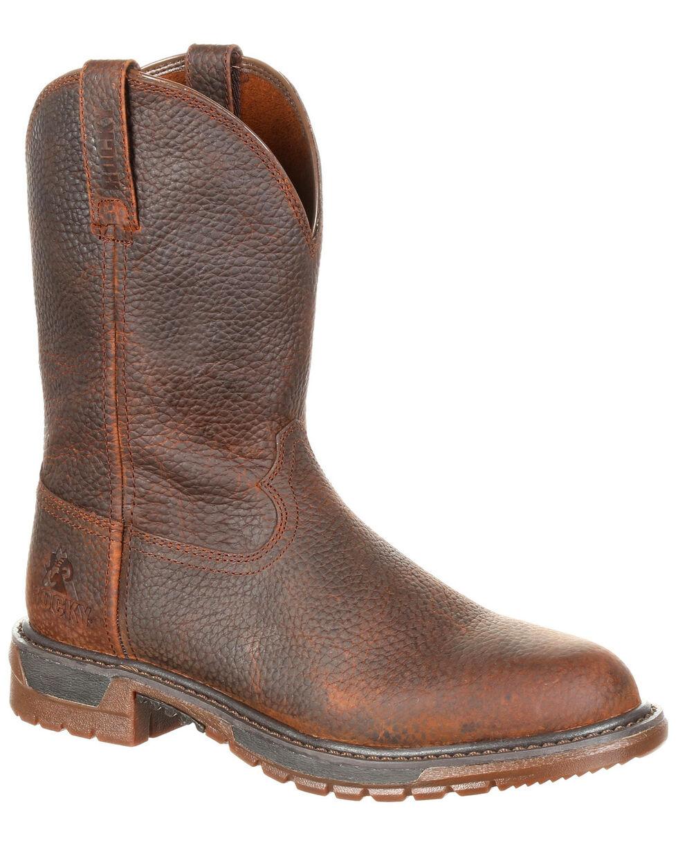 Rocky Men's Original Ride FLX Western Work Boots - Round Toe, Brown, hi-res