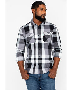 Levis Men's Stuttgart Slub Plaid Long Sleeve Western Shirt , Black, hi-res