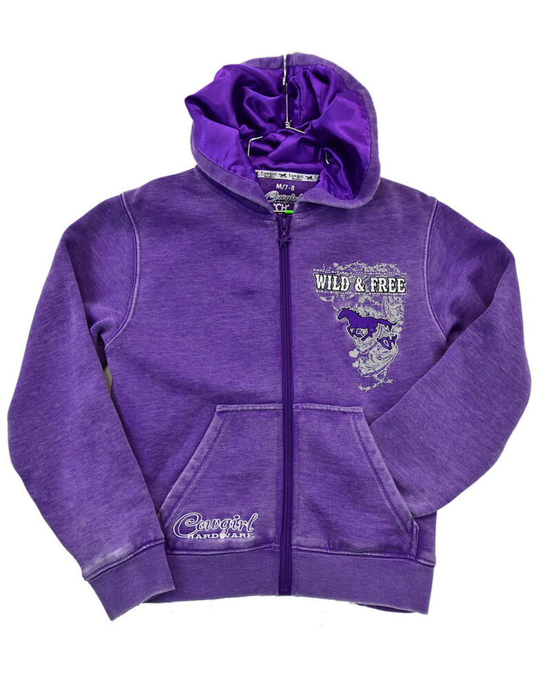 Cowgirl Hardware Girls' Purple Wild & Free Zip-Up Hooded Sweatshirt , Purple, hi-res