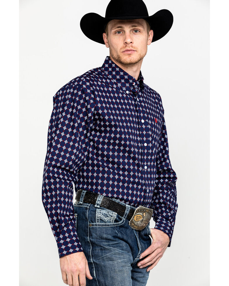 Cinch Men's Navy Geo Print Button Front Long Sleeve Western Shirt , Navy, hi-res