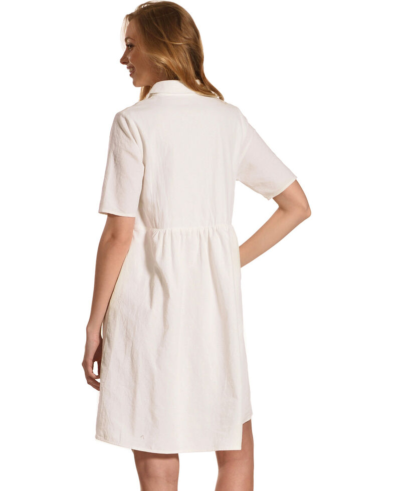 Polagram Women's White Embroidered Tassel Dress, White, hi-res