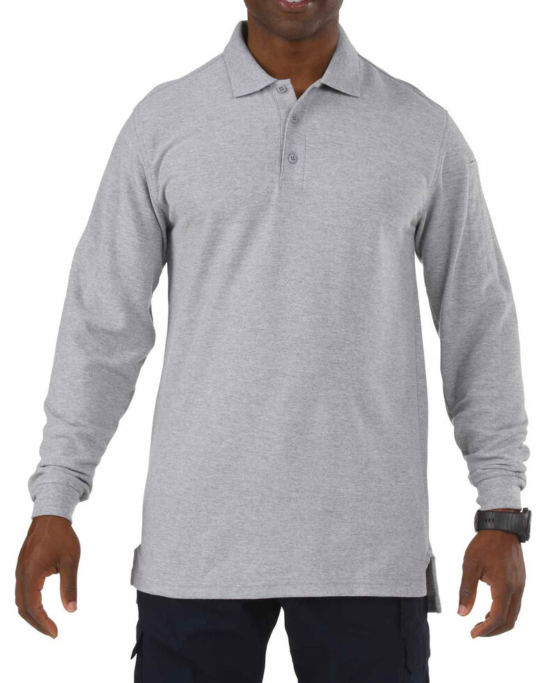 5.11 Tactical Utility Long Sleeve Polo Shirt - 3XL, Hthr Grey, hi-res