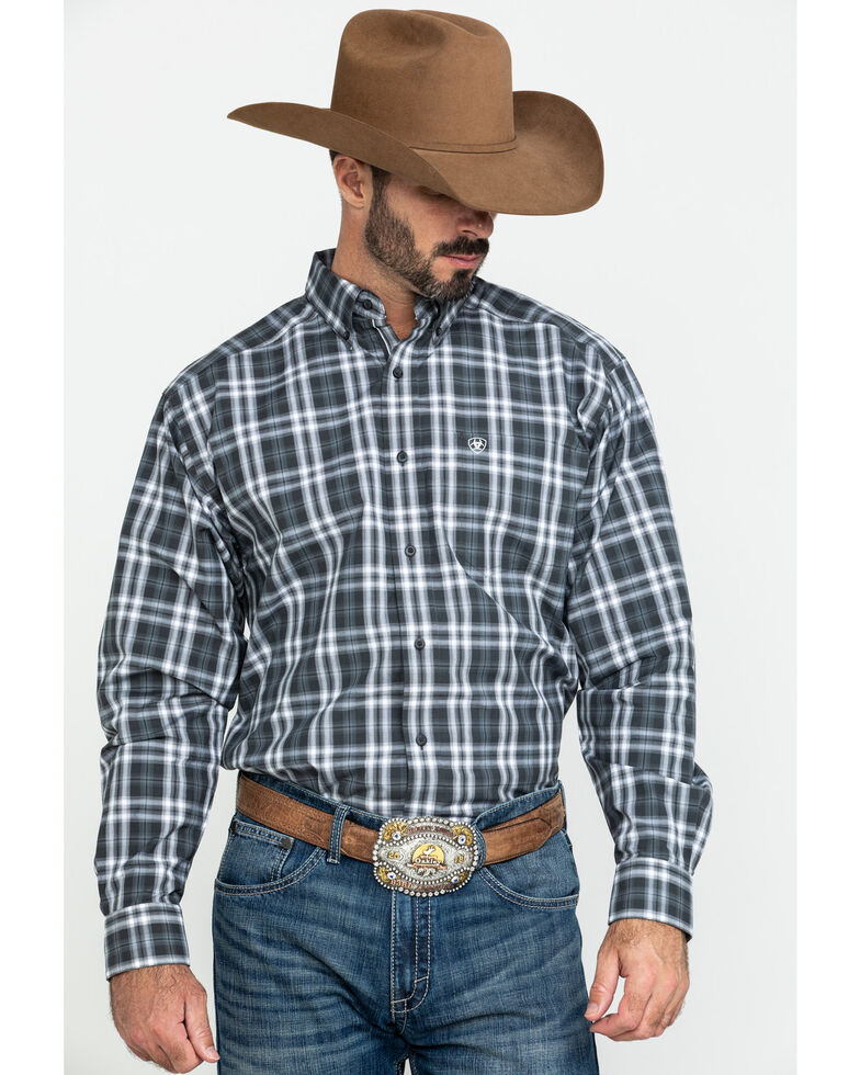 Ariat Men's Farmington Med Plaid Long Sleeve Western Shirt - Big , Brown, hi-res