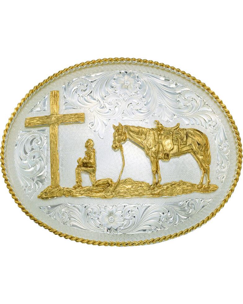 Montana Silversmiths Men's Christian Cowboy Belt Buckle, Silver, hi-res