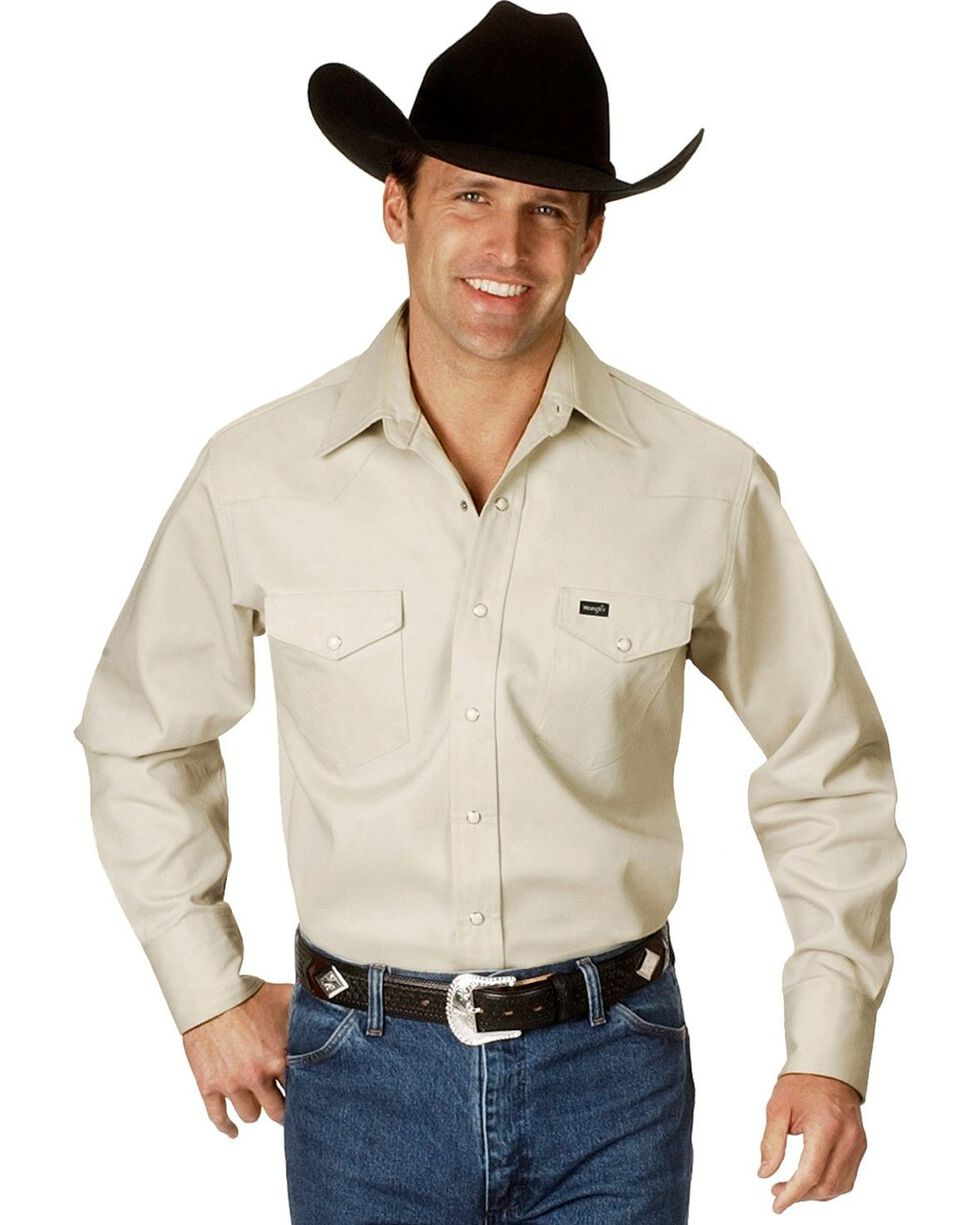 Wrangler Men's Cowboy Cut Firm Finish Long Sleeve Work Shirt, Stone, hi-res