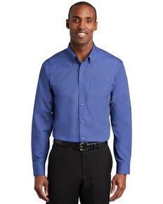 Red House Men's Mediterranean Blue Nailhead Non-Iron Long Sleeve Work Shirt , Blue, hi-res