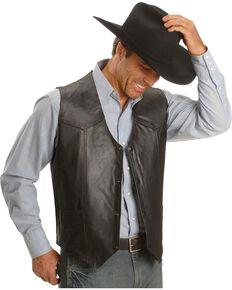 Vintage Leather Western Yoke Genuine Leather Vest, Black, hi-res