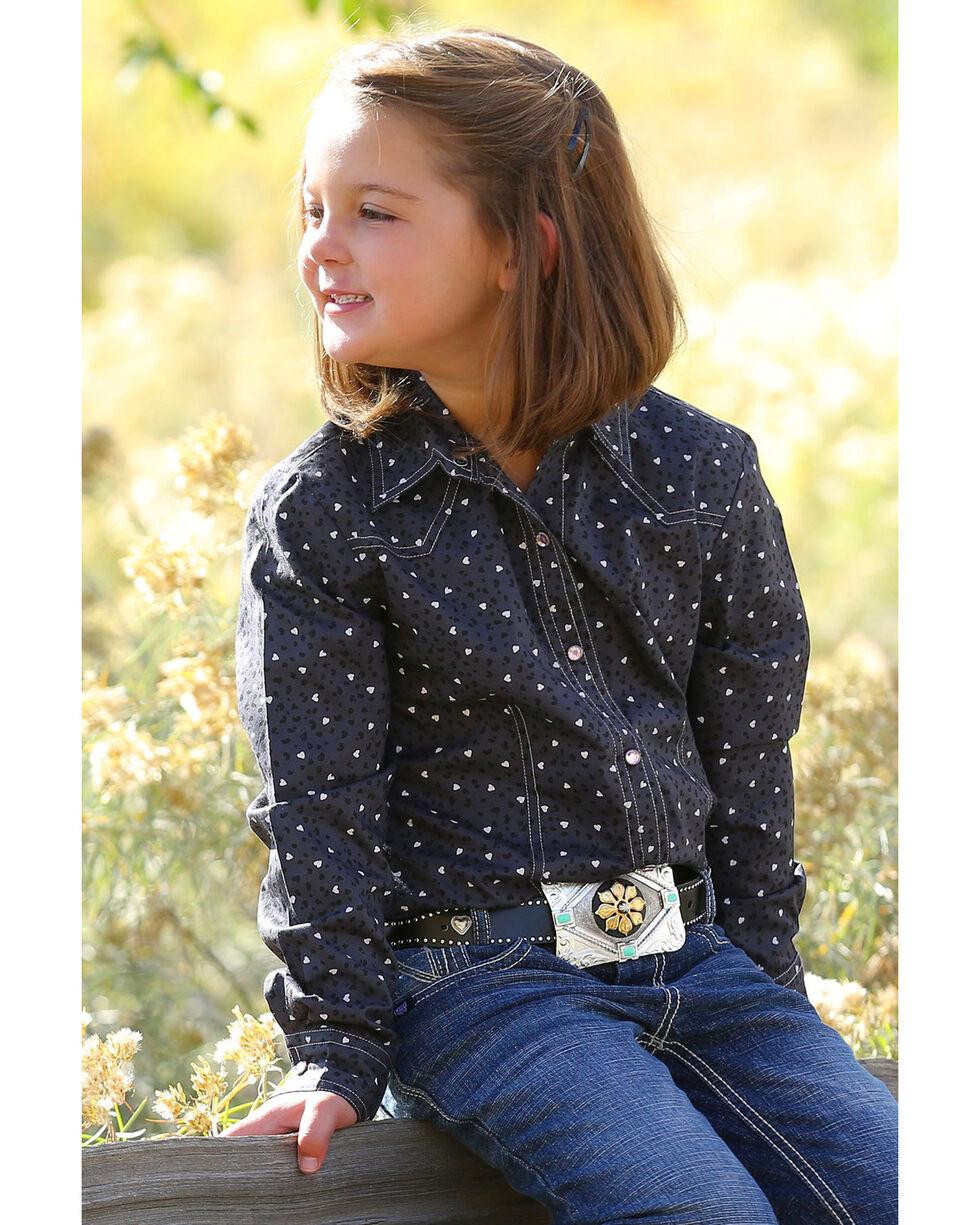 Cruel Girl Girls' Heart Printed Long Sleeve Western Shirt , Charcoal, hi-res