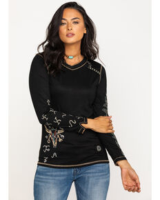 Double D Ranchwear Women's Branding Season Long Sleeve Tee, Black, hi-res