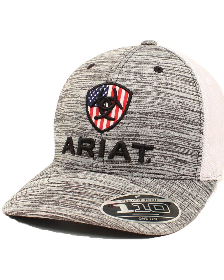 Ariat Men's Grey USA Patch Flex Fit Mesh Ball Cap , Grey, hi-res