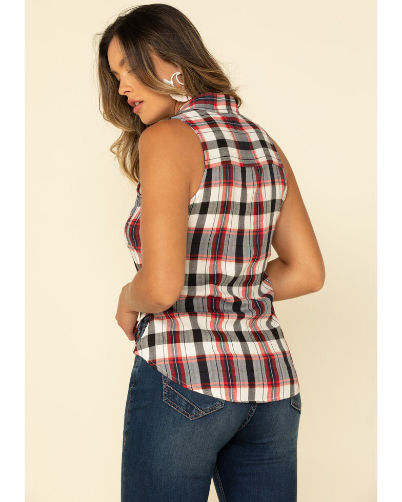 Shyanne Women's Navy Plaid Sleeveless Western Shirt, , hi-res