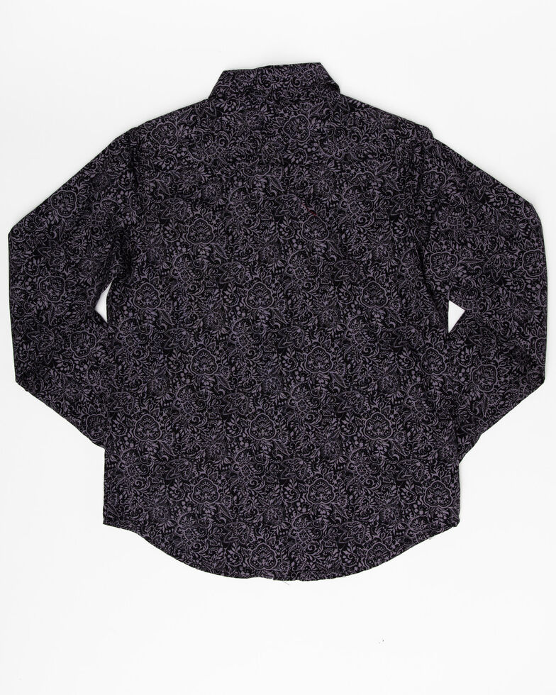 West Made Girls' Black Paisley Print Long Sleeve Western Shirt , , hi-res