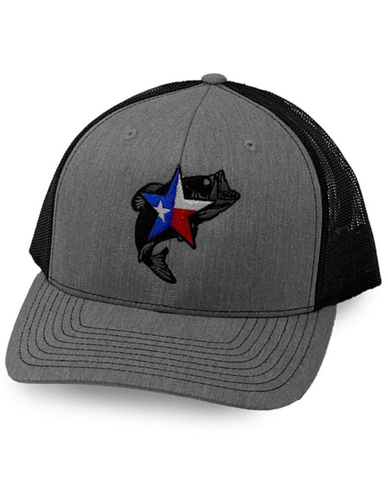 Oil Field Hats Men's Heather Grey & Black Texas Star Bass Mesh-Back Ball Cap , Charcoal, hi-res