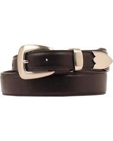 Double Barrel Three Piece Buckle Set Basic Leather Belt, Black, hi-res