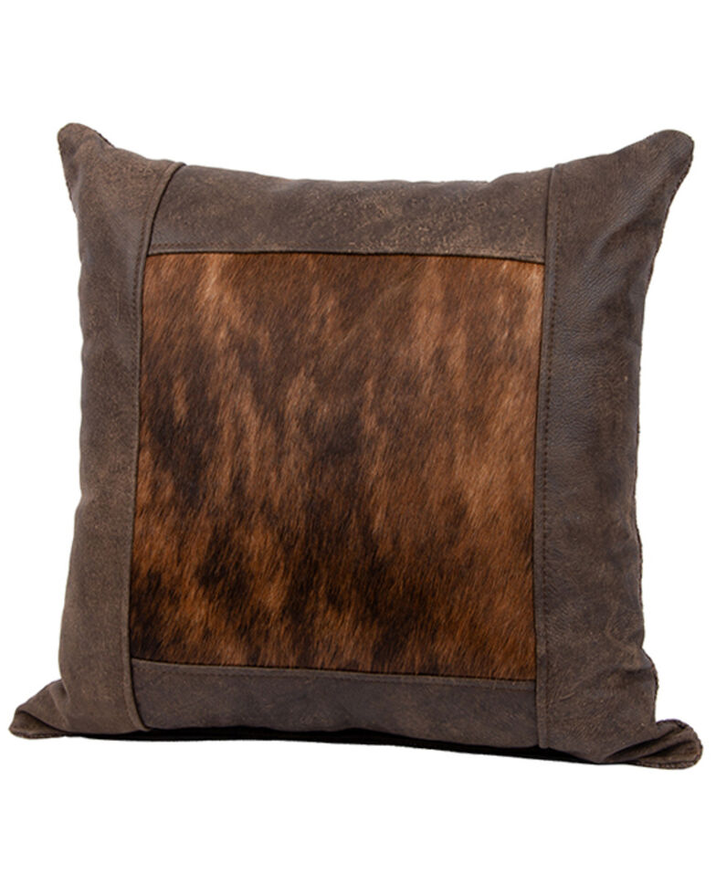 Carroll Co. Timber Leather Window Frame Pillow, Brown, hi-res