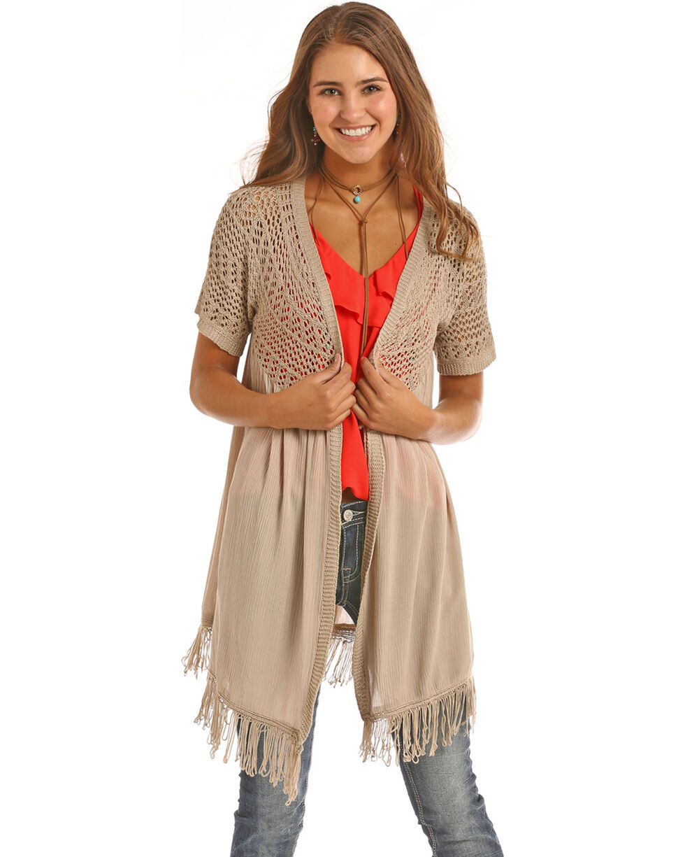 Rock & Roll Cowgirl Women's Taupe Crochet Cardigan , Taupe, hi-res