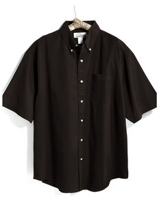 Tri-Mountain Men's Black Solid Recruit Short Sleeve Work Shirt - Tall, Black, hi-res