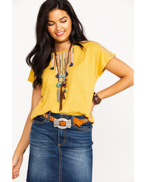 Ariat Women's Solid Mona Tassel Short Sleeve Top  , Gold, hi-res