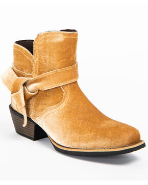 Justin Women's Velvet Crush Booties - Square Toe, Tan, hi-res