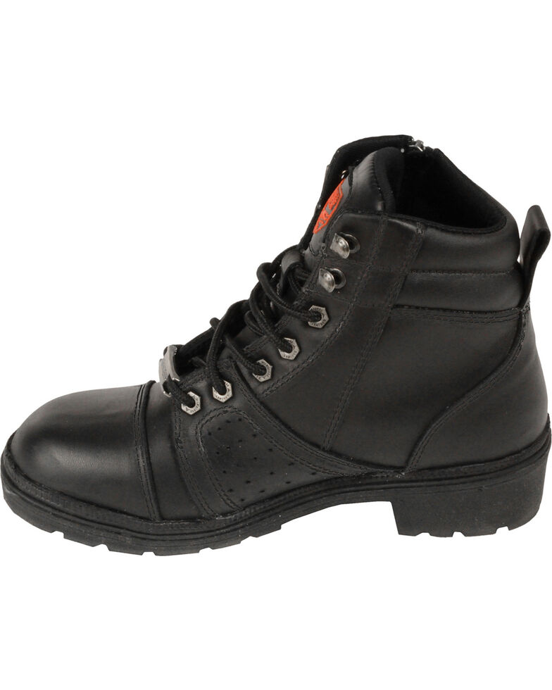 Milwaukee Leather Women's Lace To Toe Boots - Round Toe, Black, hi-res